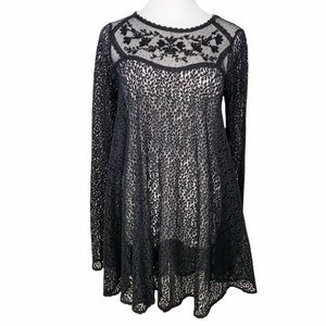 FREE PEOPLE Black Lace Dress Baby Bell Sleeves XS